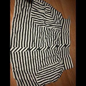 Black and White Stripped Skater Skirt